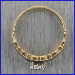 Vintage Estate 14k Yellow Gold Blue Enamel Diamond Wedding Band Ring