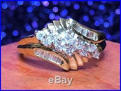 Vintage Estate 14k Yellow Gold Diamond Ring Cluster Wedding Appraisal. 50 Tcw