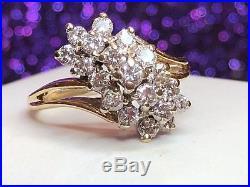 Vintage Estate 14k Yellow Gold Genuine Diamond Ring Cluster Signed Utc Wedding
