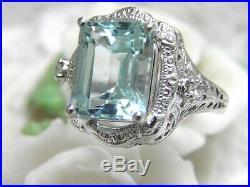 Vintage Estate 14kt Wg 4.30ct Aquamarine & Diamond Filigree Deco Engagement Ring