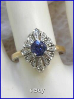 Vintage Estate 14kt Wgyg Genuine Sapphire Diamond Deco Filigree Engagement Ring