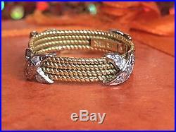 Vintage Estate 18k Gold Genuine Diamond Ring Band Woven Wedding Signed B