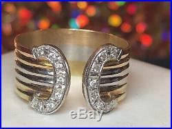 Vintage Estate 18k Gold & Platinum Pt 900 Diamond Ring Belt Ring Wedding Band