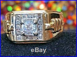 Vintage Estate 18k Natural Gold Diamond Band Ring Men's Ring Wedding Anniversar
