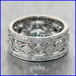 Vintage Estate 18k White Gold 1ctw Diamond Filigree Wedding Band Ring