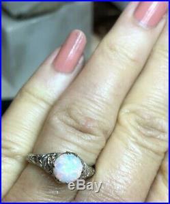 Vintage Estate 18k White Gold Natural Opal & Diamond Ring Engagement Wedding