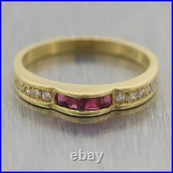 Vintage Estate 18k Yellow Gold 0.20ctw Ruby & Diamond Wedding Band Ring