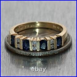 Vintage Estate 18k Yellow Gold 0.60ctw Sapphire & Diamond Wedding Band Ring