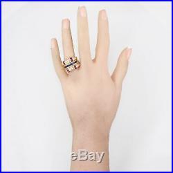 Vintage Estate 18k Yellow Gold 1.74ctw Sapphire Diamond Ruby Wedding Band Ring