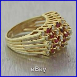 Vintage Estate 2.2ctw Ruby & Diamond 14k Yellow Gold Over Band Engagement Ring