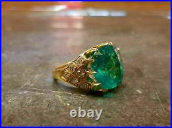 Vintage Estate 5Ct Colombian Emerald & Diamond 14k Yellow Gold Over Wedding Ring