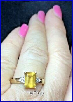 Vintage Estate 9k Gold Yellow Natural Citrine Ring England Wedding Engagement