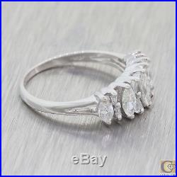 Vintage Estate Art Deco 18k White Gold Marquise Diamond Wedding Band Ring M8