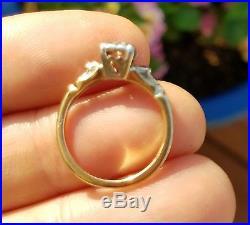 Vintage Estate Diamond & Ruby Wedding Ring Set 14k Rose Gold engagement and band