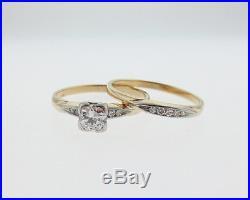 Vintage Estate Genuine Diamonds 0.45ct Solid 14k 2-Tone Gold Wedding Ring Set