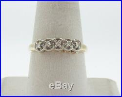 Vintage Estate Genuine Diamonds Solid 14k Two-Tone Gold Wedding Ring Set Sz11