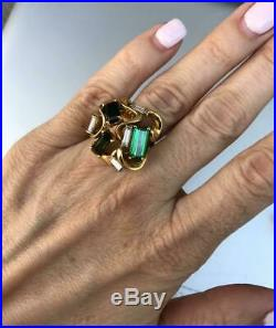 Vintage Estate Modernist 18k Yellow Gold Over Emerald & Diamond Ring 3.85Ct