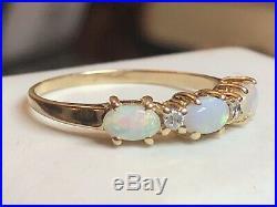 Vintage Estate Natural Genuine Opal & Diamond Band Ring Wedding Gemstone