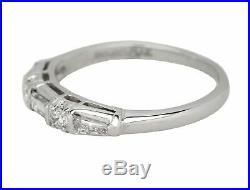 Vintage Estate Platinum 0.36ctw Baguette Round Cut Diamond Wedding Band Ring