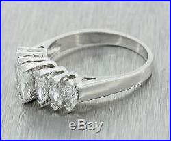 Vintage Estate Platinum 1.50ctw Marquise Diamond 18mm Wedding Band Ring