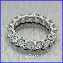 Vintage Estate Platinum 3.90ct Diamond Eternity Wedding U Prong Band Ring A1