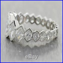 Vintage Estate Platinum 4ctw Marquise Cut Diamond Wedding Band Ring