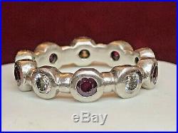 Vintage Estate Platinum Ring Band Diamond Ruby Scrape Eternity Wedding Band