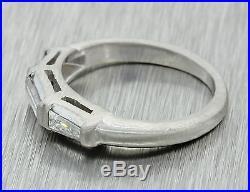 Vintage Estate Solid Platinum. 30ctw Baguette Diamond Wedding Band Ring