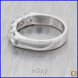 Vintage Estate Solid Platinum 5 Stone Diamond Wedding Band Ring M8