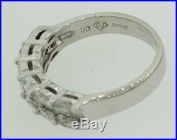 Vintage Estate Solid Platinum Oval & Baguette Diamond Wedding Band Ring