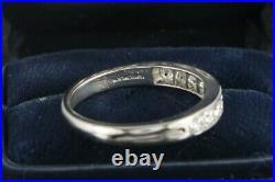Vintage Estate Tiffany & Co. Platinum Round Diamond 3.5mm Wedding Band Ring 8.5