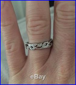 Vintage Floral Platinum And Diamond Wedding Ring By Ungar And Ungar