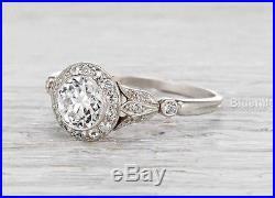 Vintage Halo Wedding Engagement Ring 2.14 ct White Moissanite Round 14k gold