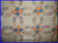 Vintage Hand Stitched Double Wedding Ring Country Estate Quilt 76x74