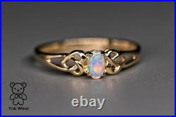 Vintage Inspired Australian Solid Opal Engagement Wedding Ring 14K Yellow Gold