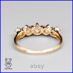 Vintage Inspired Eternity Ring with Natural Akoya Pearls 18K Yellow Gold Wedding