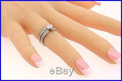 Vintage Jabel 18k White Gold 1.52ct Diamond Engagement Ring Wedding Band set 5.5