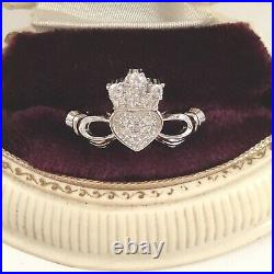 Vintage Jewellery Claddagh Ring White Sapphires Heart Crown Antique Jewelry 9 S