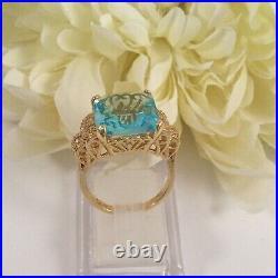 Vintage Jewellery Gold Ring Aquamarine White Sapphires Antique Deco Jewelry P