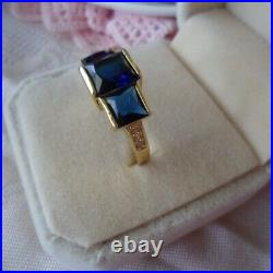 Vintage Jewellery Gold Ring Blue White Sapphires Antique Deco Jewelry size 9 S