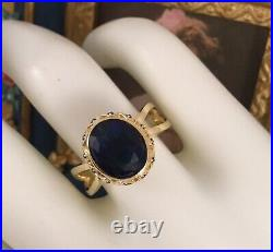 Vintage Jewellery Gold Ring with Blue Sapphires Antique Deco Jewelry size Q