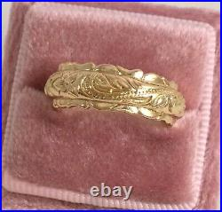 Vintage Jewellery Gold Wedding Band Ring Antique Deco Jewelry extra large 11