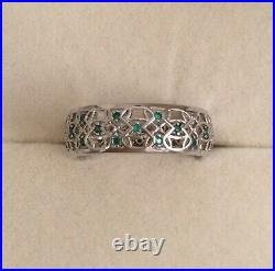 Vintage Jewellery White Gold Celtic Band Ring Emeralds Antique Deco Jewelry sz S