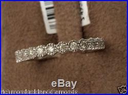 Vintage Ladies 13 Diamonds Anniversary Wedding Ring Band White Gold Milgrain