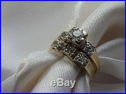 Vintage Ladies 14K Yellow Gold Wedding Set Engagement Diamond Ring And Band