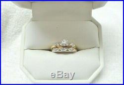 Vintage Ladies 14kt Yellow and White Gold Diamond Wedding Set