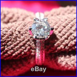 Vintage Lotus Flower 1CT Genuine Moissanite 14K White Gold Women Wedding Ring