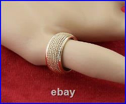 Vintage Mens Tiffanys Rope Style 12mm Wide Wedding Band Ring 14k Yellow Gold 8.7
