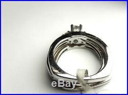Vintage Natural. 66 Ct Diamond 3 Pc Bridal Set 3 Ring 14K White Gold Size 6