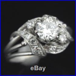 Vintage Old European Cut Diamond 18k White Gold Ring Engagement Bridal Retro